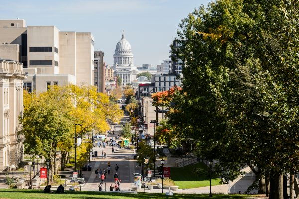 view of Wisconsin State Capitol from Bascom Hall