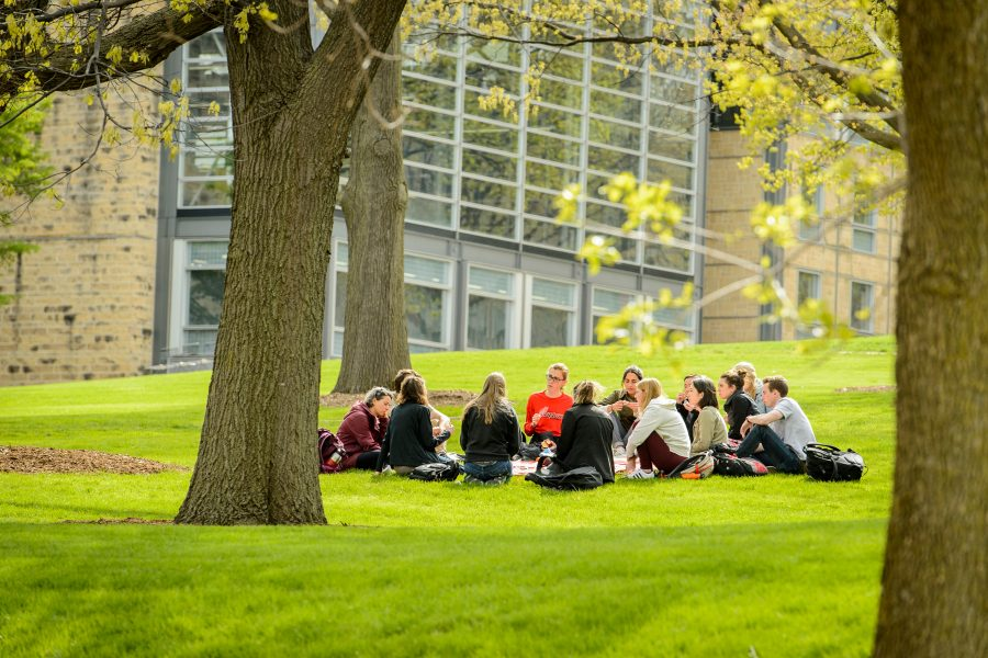 A class meeting outside on UW-Madison campus