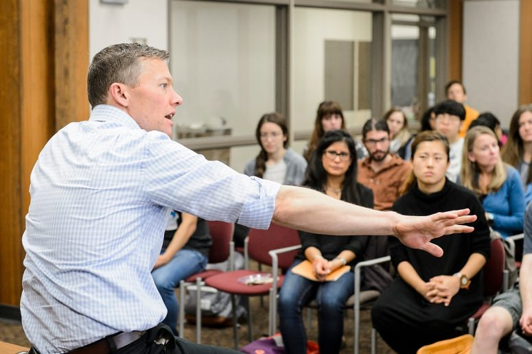Matthew Desmond speaking to Sociology students and faculty