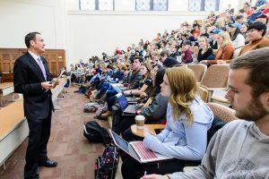 Ralph Grunewald speaking to classroom
