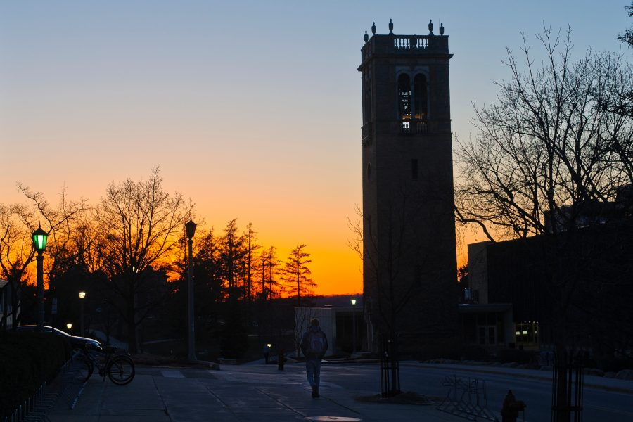 As the sun sets behind it, the Carillon Tower is seen