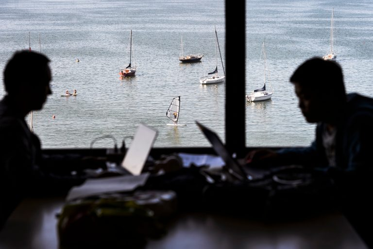 Photo of students studying in the library with a window overlooking Lake Mendota