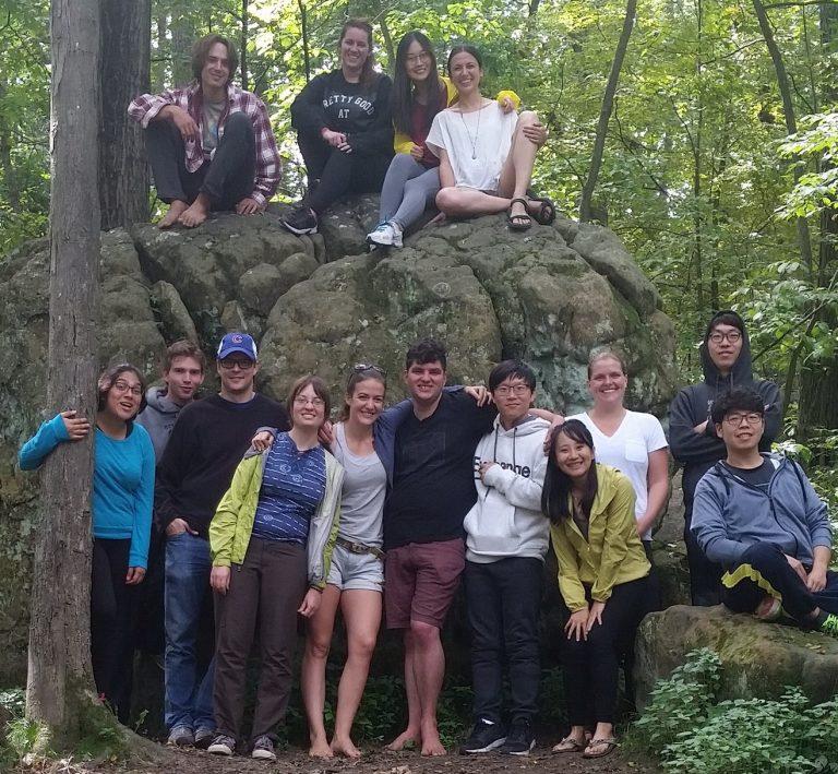 A group posing at the Grad Cohort Camping