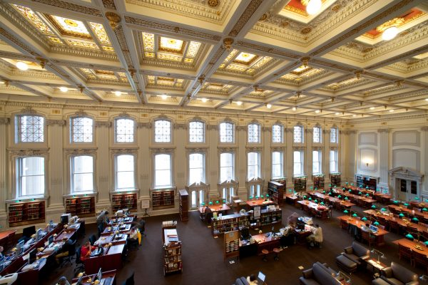 A photo os the Wisconsin Historical Society library reading room