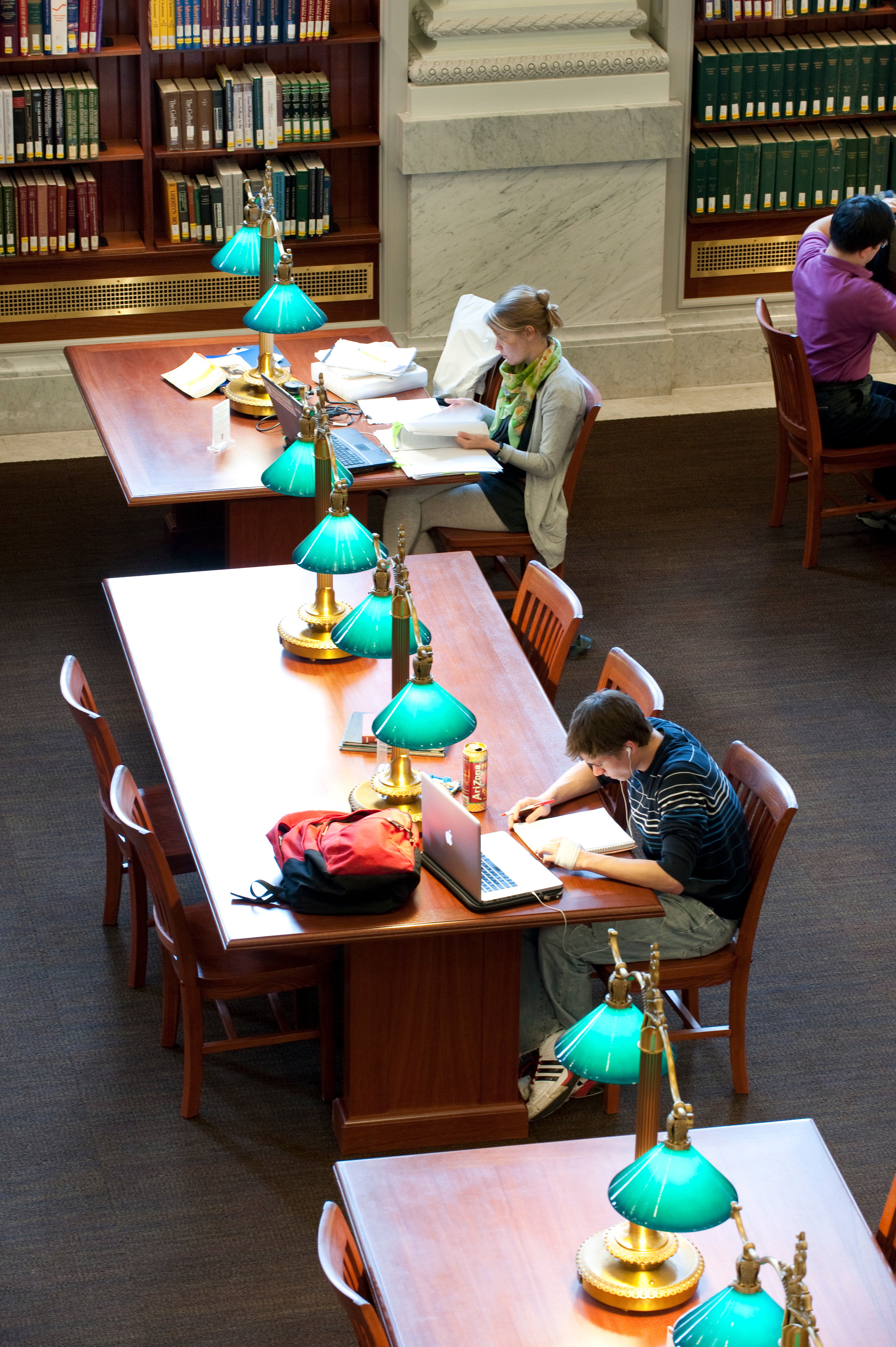 Students studying in Wisconsin Historical Society library