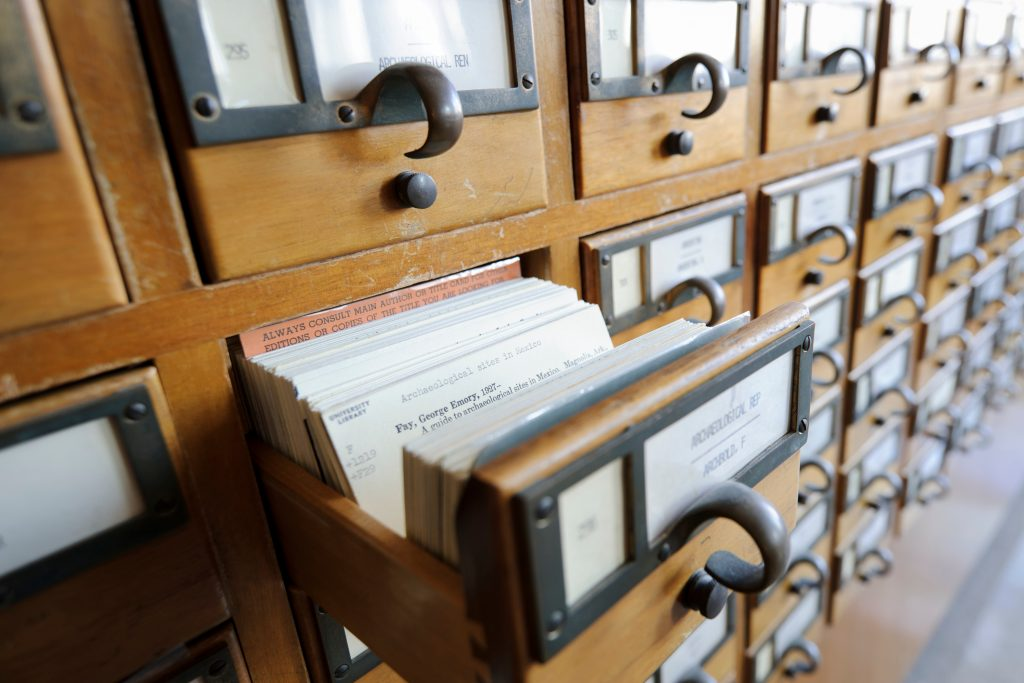 olc card catalogue drawers from library