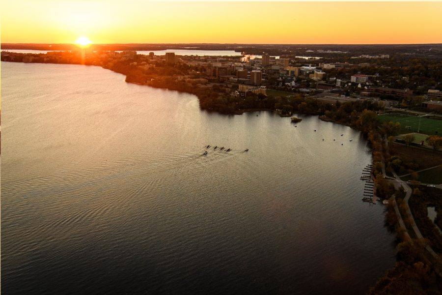 Aerial of Lake Mendota and University of Wisconsin Madison