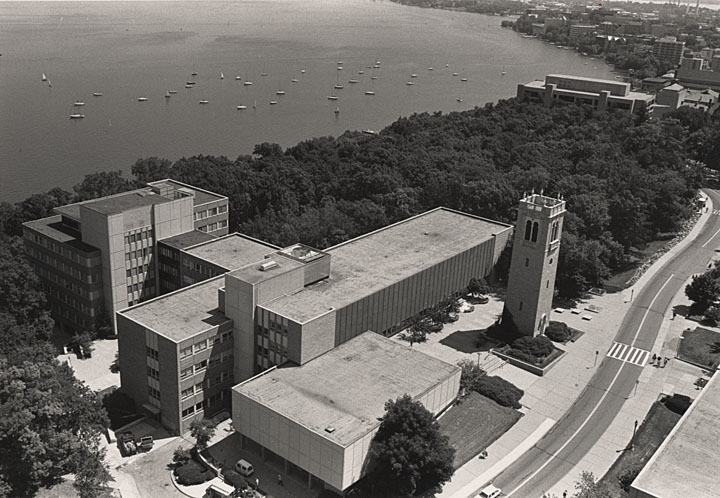 vintage aerial view of social science building