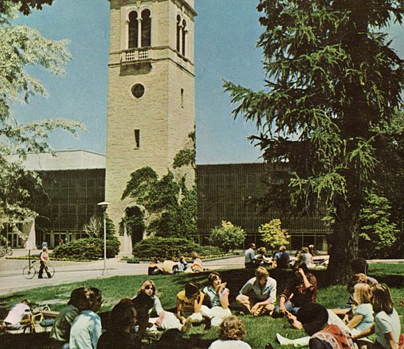 photo from UW-Madison archive of students studying outside the Sewell Social Sciences Building
