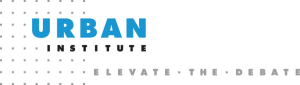 """logo for Urban Institute with the text """"Elevate the Debate"""""""